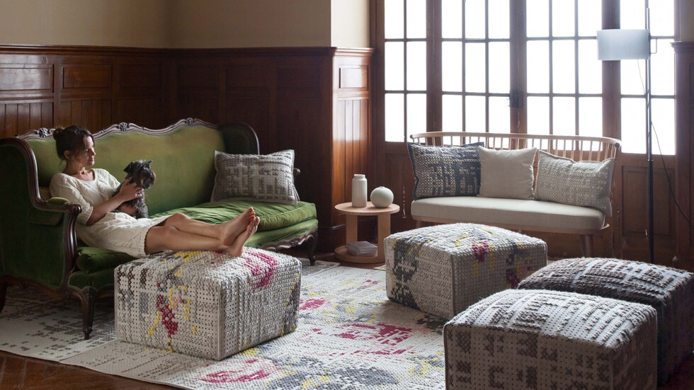 pouffes and cushions by Charlotte Lancelot partnered with Gandia Blasco's GAN division