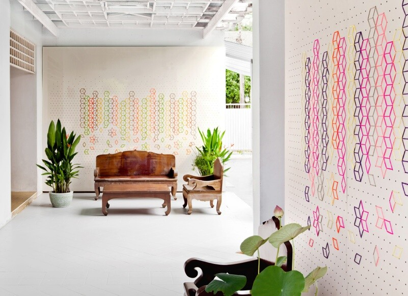 Embroidered Flower Lobby by Tripasai Architect - www.homeworlddesign. com (4)