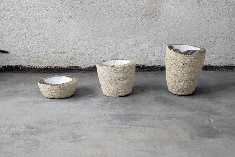 vases -  pieces carved in limestone by Cosma Frascina