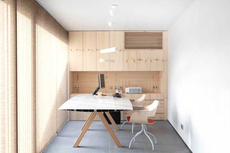 Family House with wooden interior- office space