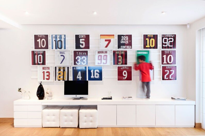 Mauro Soddu designed this bright living room for professional footballer