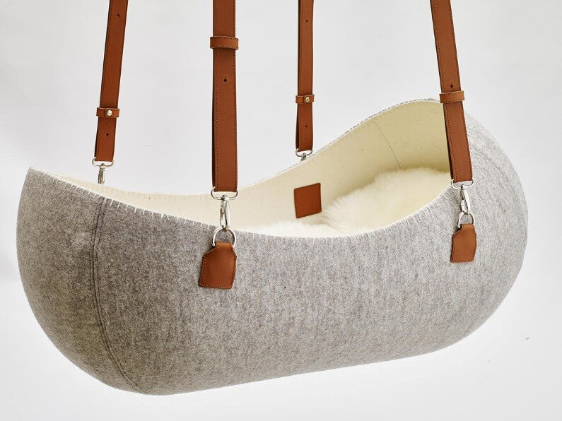 O - bjekt design studio created the Little Nest - the felt cradle (1)