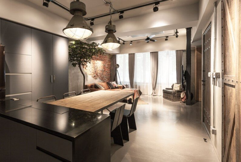 Taipei, Taiwan - apartment with interior design based on industrial style