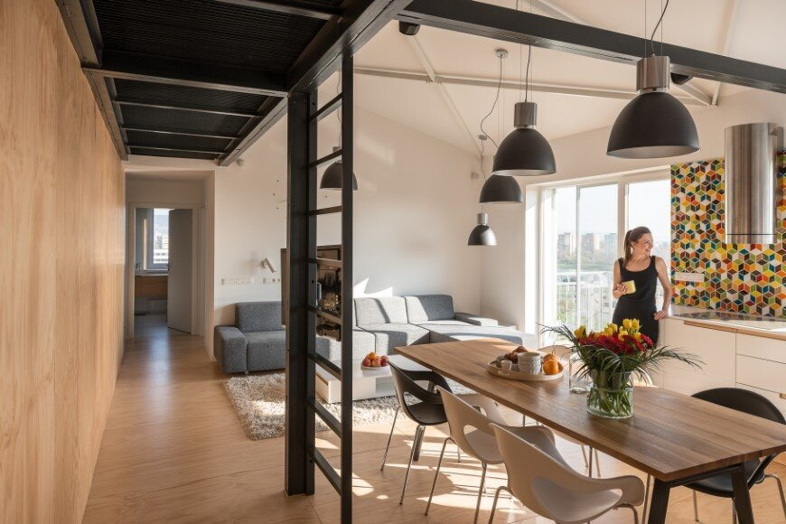 Industrial style in harmony with warm natural materials in a cozy loft by Rules Architects - Bratislava (9)