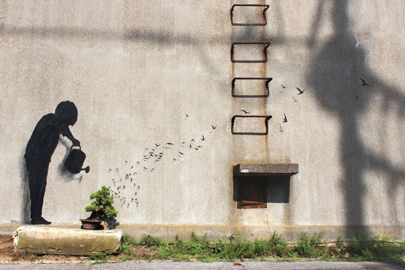 Paintings by Spanish street artist Pejac Tokyo, Seoul and Hong Kong (4)