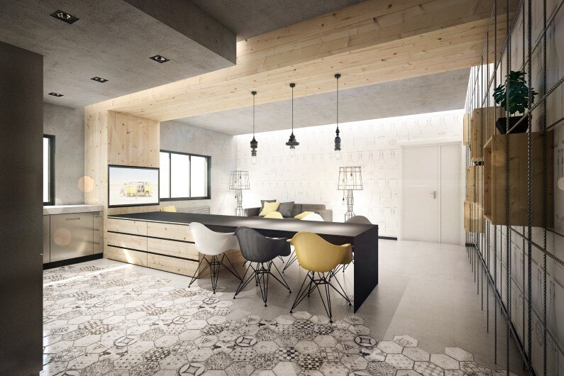 Wireframe apartment interiors with industrial tones Brain Factory (3)
