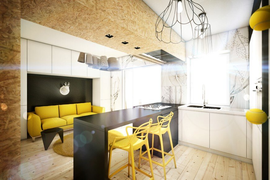 Yellow Touch Apartment 25 sqm yellow-black contrast in Rome (1)