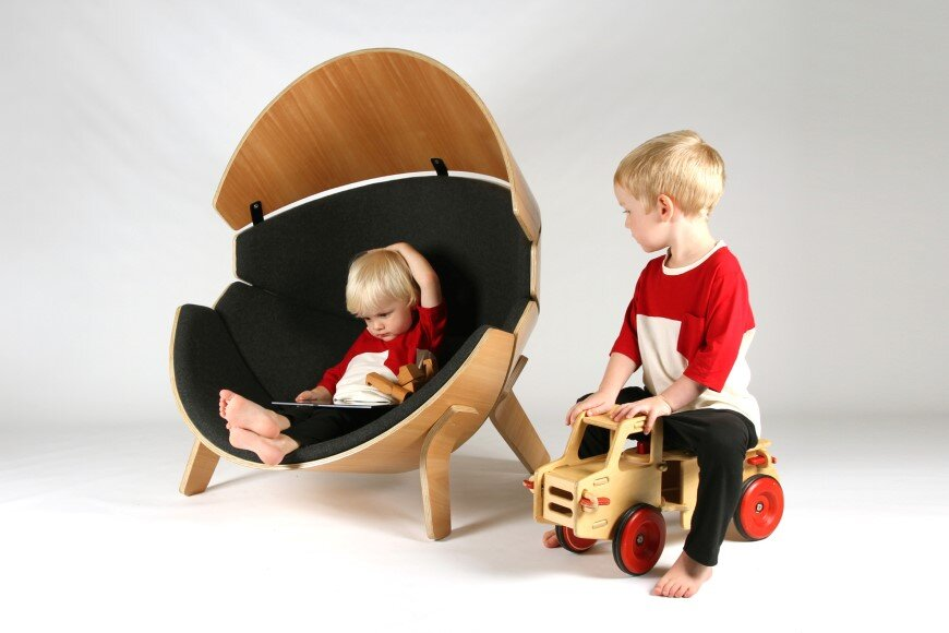 Hideaway Chair - a bent ply wood and upholstered children's chair (2)