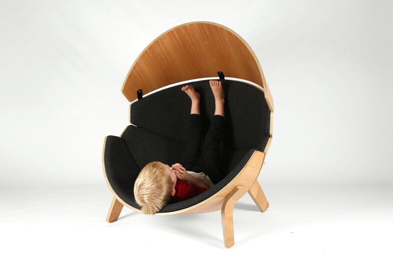 Hideaway Chair - a bent ply wood and upholstered children's chair