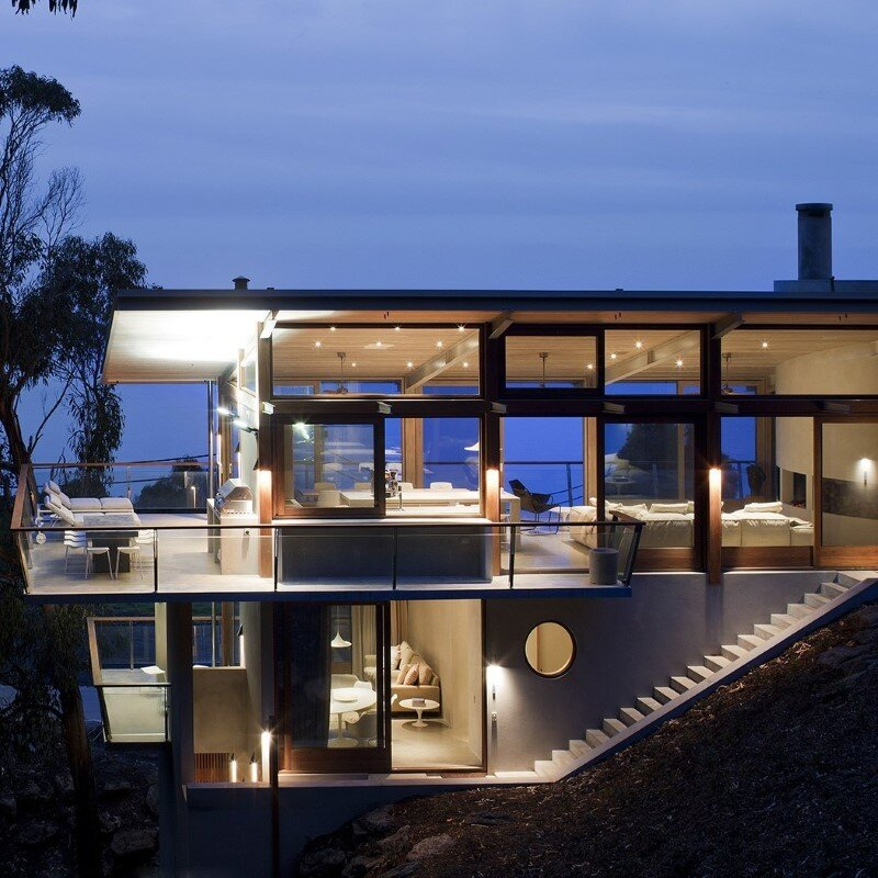 Ocean House sculpted from concrete, timber and glass (4)