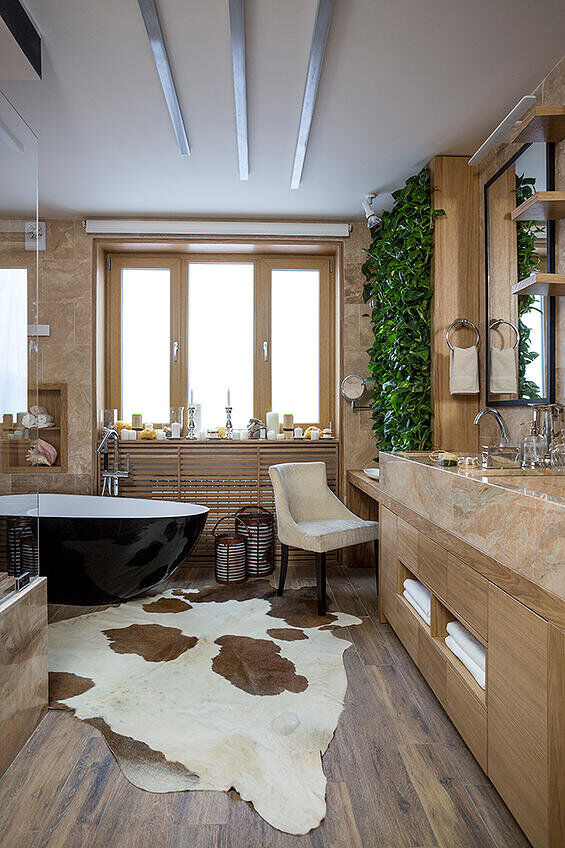 Eco-design that integrates fitomuduli with live plants - bathroom interior design (4)