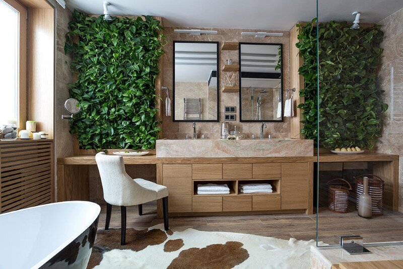 Eco-design that integrates fitomuduli with live plants - bathroom interior design (8)