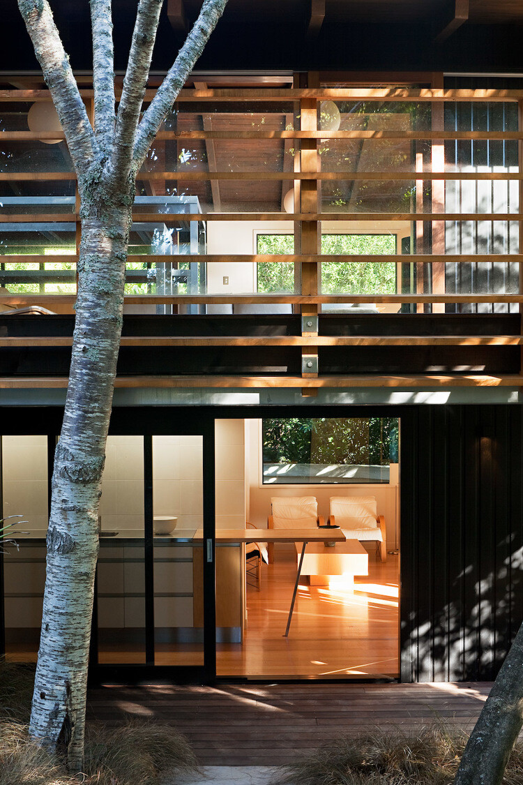 Glade House - modern home with low-pitched gabled roof, raking ceilings and exposed rafters (10)
