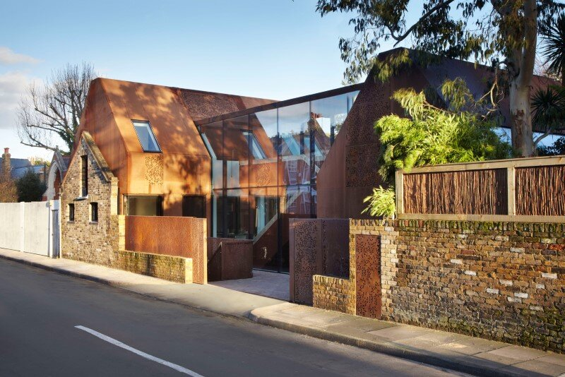 Kew House - family home formed of two sculptural volumes of weathering steel (1)