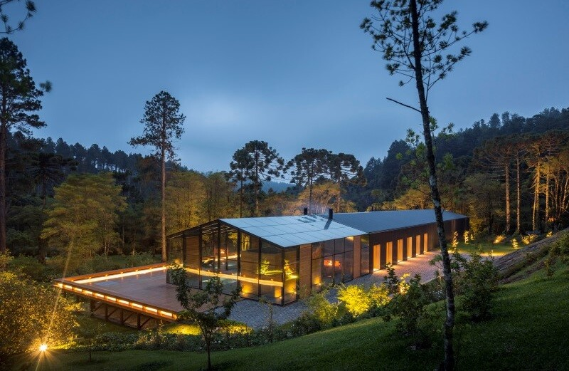 Metallic structure house in the midst of a beautiful forest of pine trees 7 (1)
