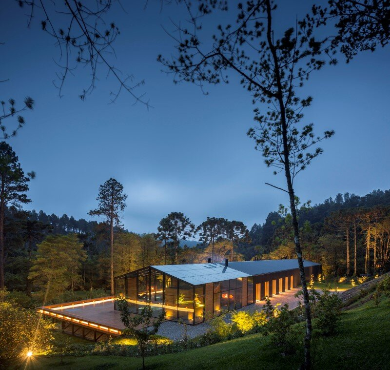 Metal structure house in the midst of a beautiful forest of pine trees 7 (2)