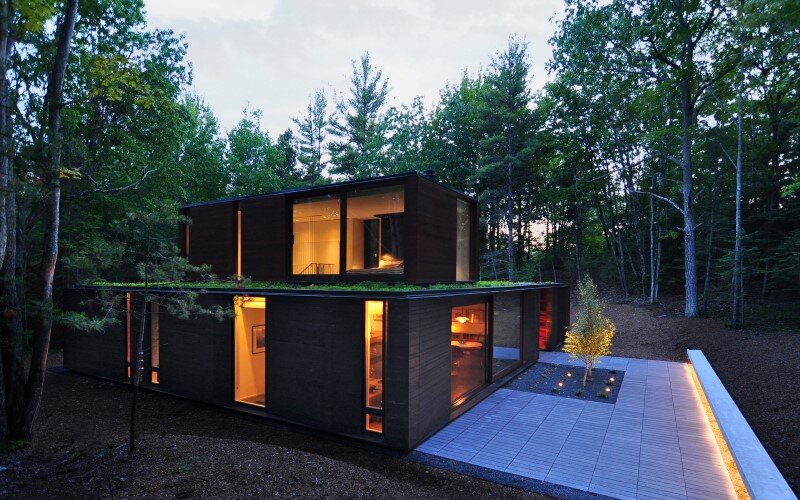 Pleated house - textured wood structure with a green roof (13)