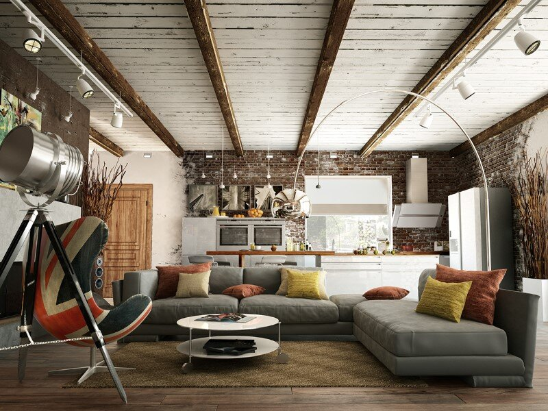 Project interiors of the private house by Galina Lavrishcheva - combination of styles - rustic and modern (13)