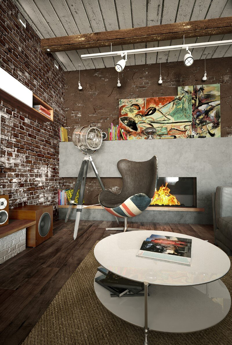 Project interiors of the private house by Galina Lavrishcheva - combination of styles - rustic and modern (17)