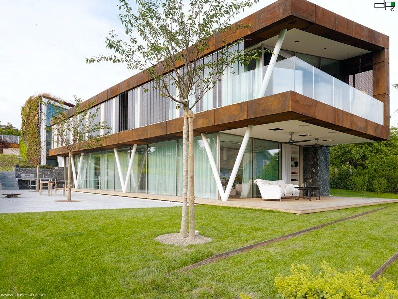 Eco house design - Villa Jewel Box with an multifaceted garden outer shell (16)