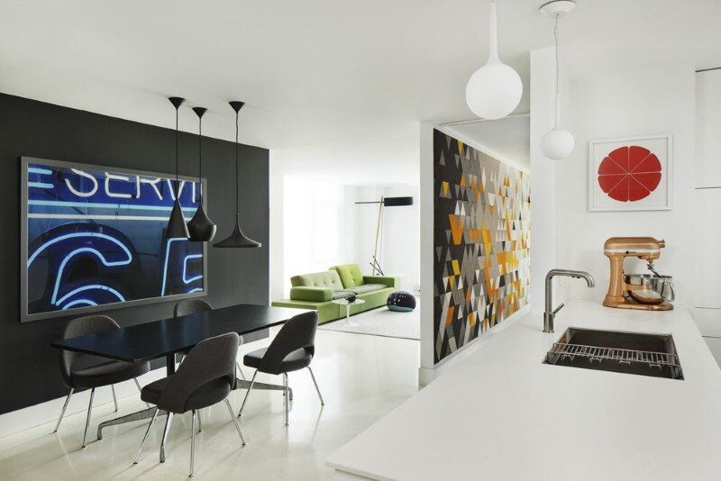 Harrison Avenue apartment with a colorful panelized felt wall (1)