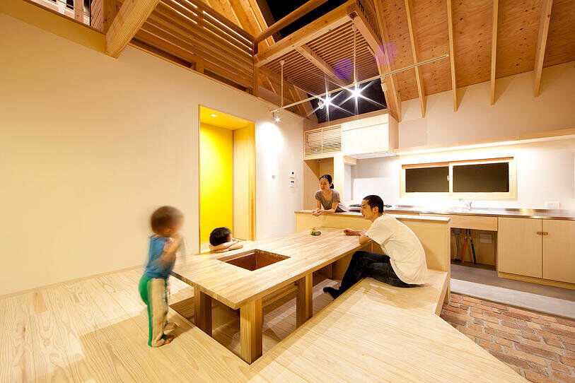 Kawagoe House is a Spacious Room Under a Large Gabled Roof 16