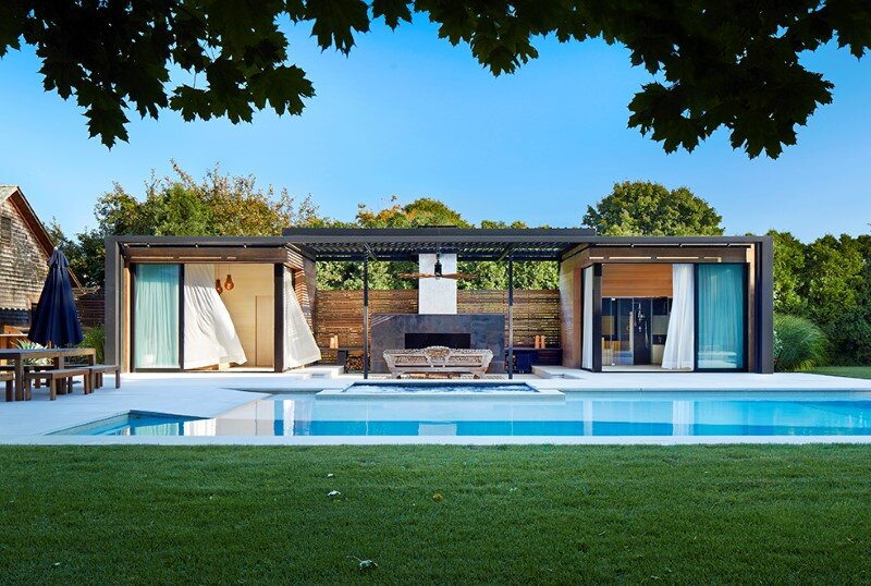 Lavish pool and spa retreat with a stunning wood and steel structure 2
