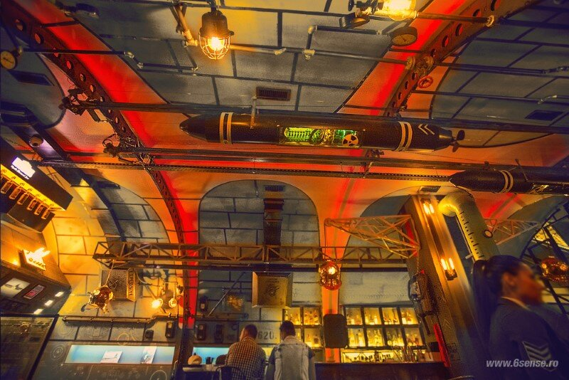Submarine Bar Designed in Industrial Style with Steampunk Features (19)