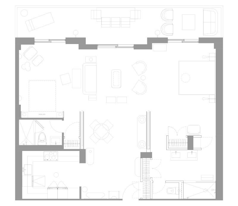 Two bedroom apartment renovation Miami Beach Residence by Luca Andrisani Architect (11)