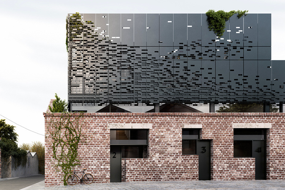 These warehouse homes have a original metal and brick facade (3)