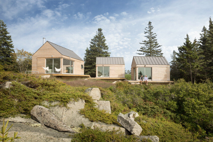 Summer Retreat in Maine - Three Identical Cabins Connected by a Deck (1)