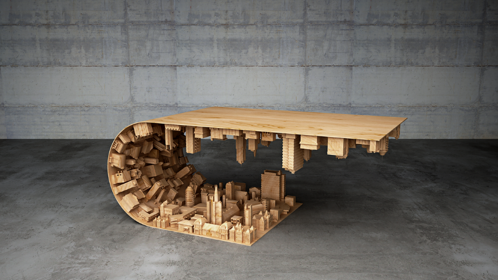 Wave City Coffee Table Inspired by the Movie Inception (1)