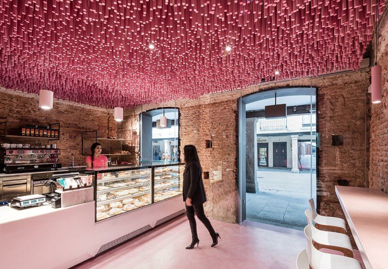 12,000 Pink Wooden Sticks Hanging from the Ceiling (10)