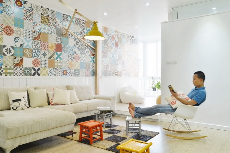 Ceramic Tiles Used as a Decorative Material - HT Apartment in Vietnam (2)