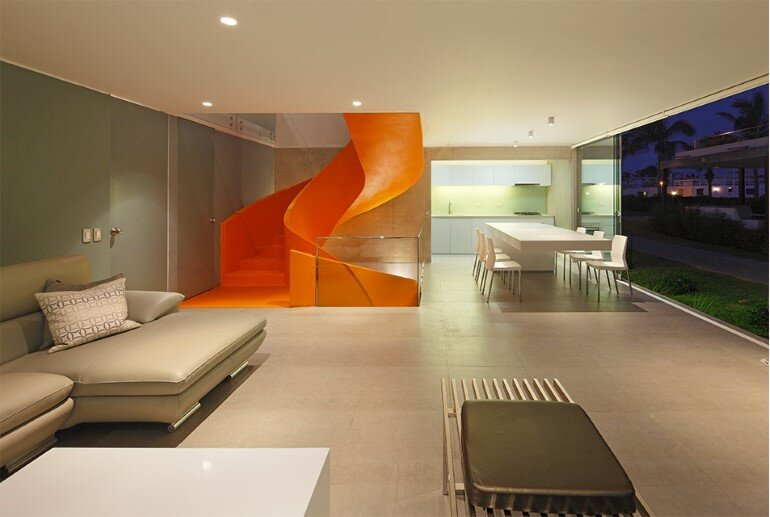 Casa Blanca Has a Striking Orange Staircase That Connects All Indoor Areas (12)