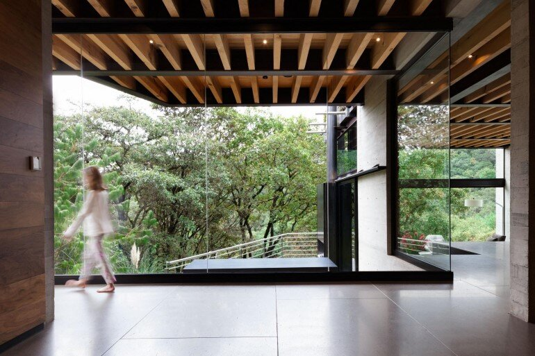 This Forest House Consists of Two Volumes Connected by Metal Bridges (2)