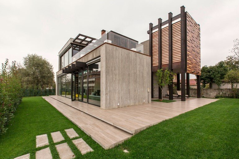 Modern Concrete Block House with Wooden Patio Attached (1)