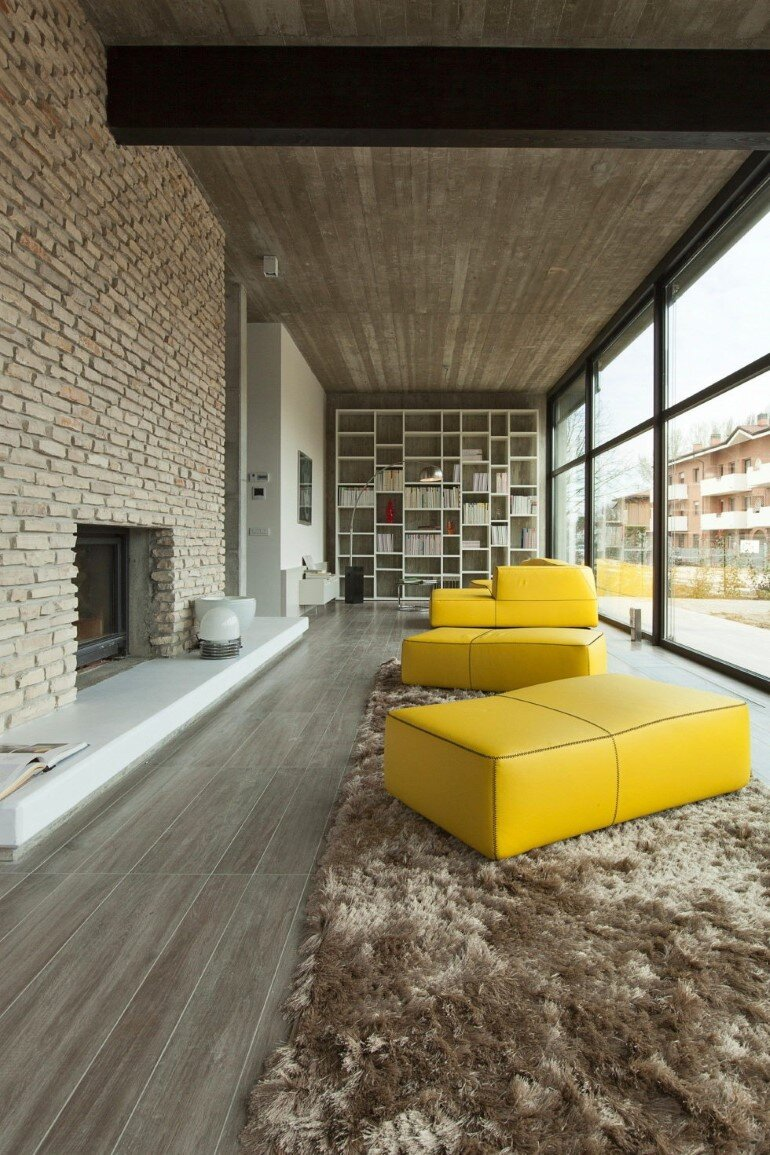 Modern Concrete Block House with Wooden Patio Attached (4)