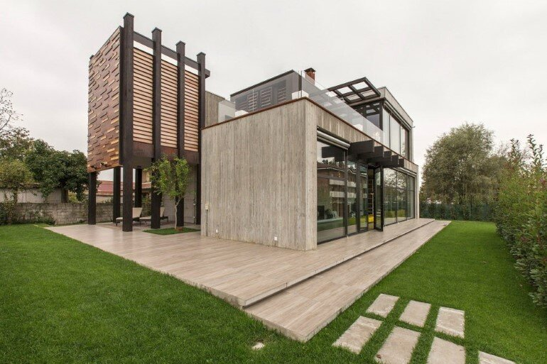 Modern Concrete Block House with Wooden Patio Attached (5)