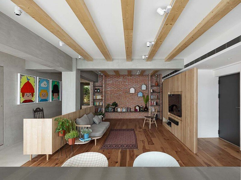 Taipei Open Flat - Wood Beams, Redbrick, and Concrete for a German Lifestyle