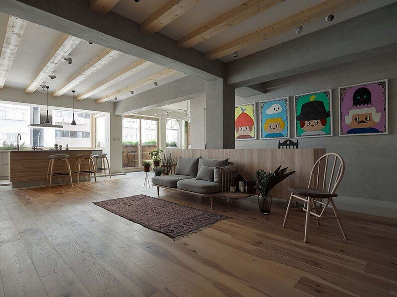 Taipei Open Flat - Wood Beams, Redbrick, and Concrete for a German Lifestyle 3