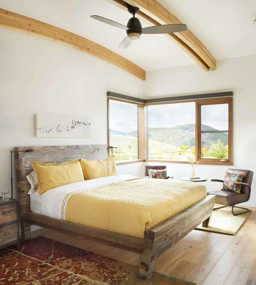 bedroom, A Wyoming Getaway Home for a Family of Five