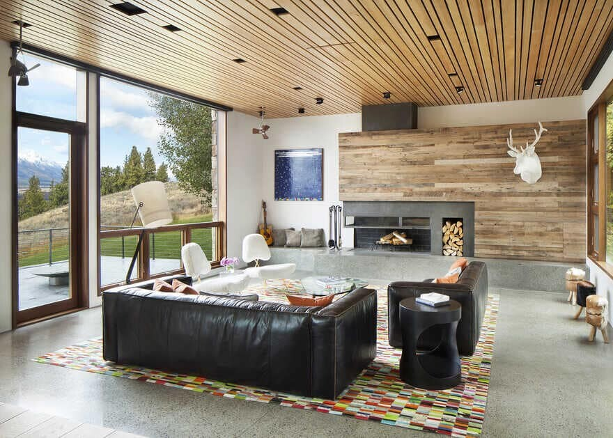 living room, A Wyoming Getaway Home for a Family of Five