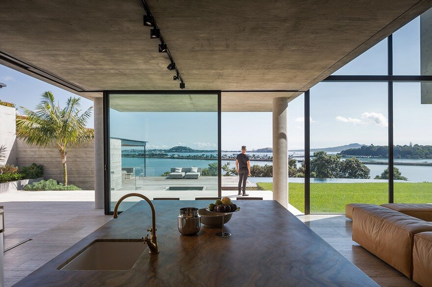 Massive Concrete Home on a Cliff Above Hobson Bay 4