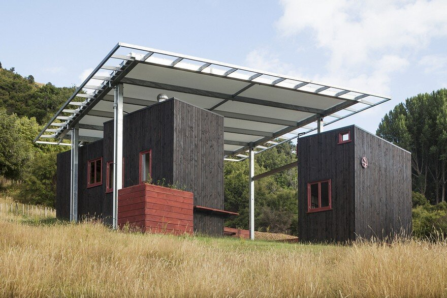 Ecosanctuary Welcome Shelter: Floating Roof Over the Wooden Boxes
