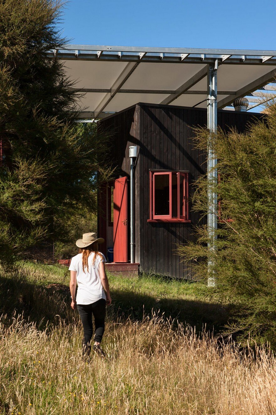Ecosanctuary Welcome Shelter: Floating Roof Over the Wooden Boxes 3