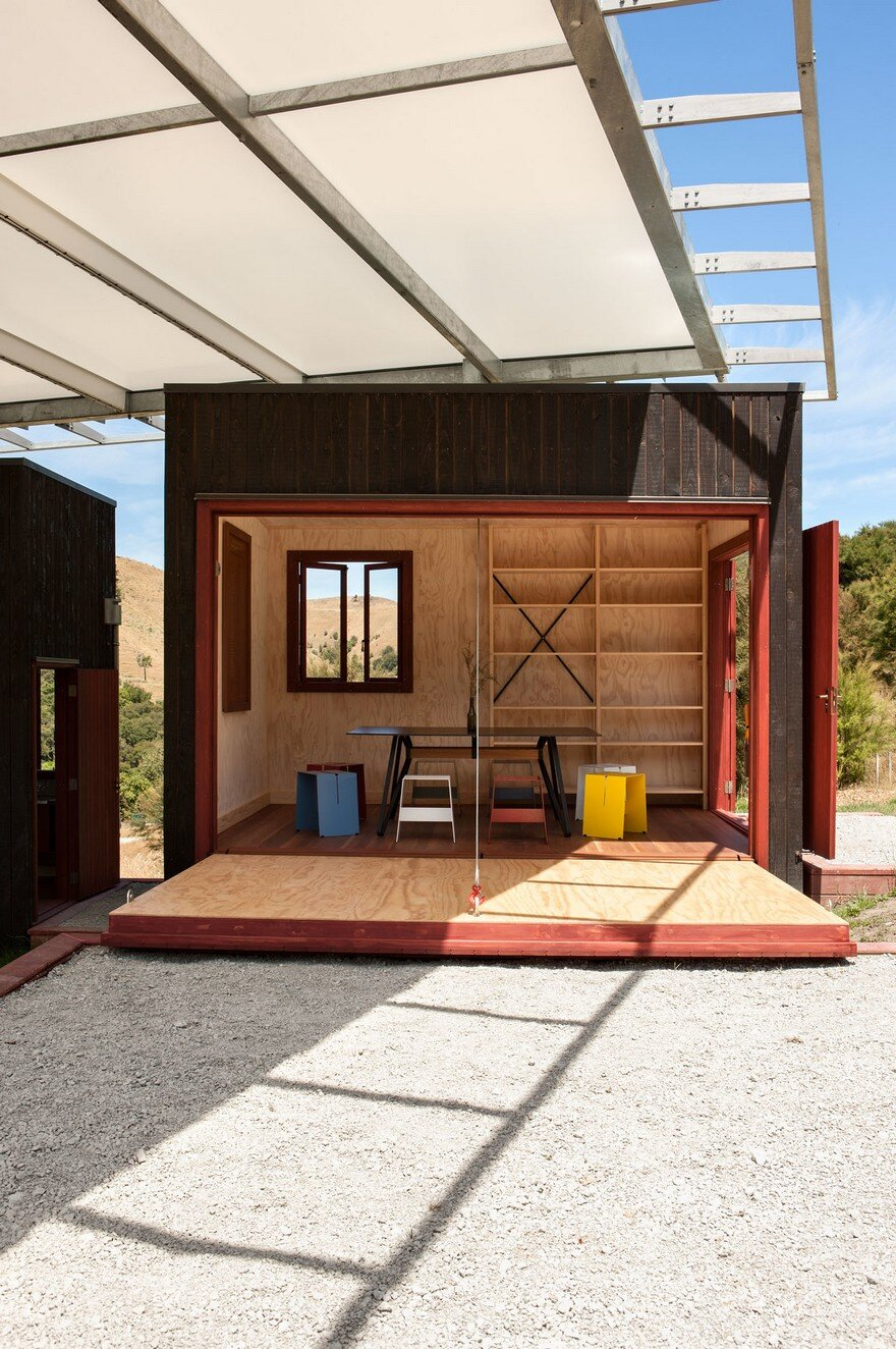 Ecosanctuary Welcome Shelter: Floating Roof Over the Wooden Boxes 5