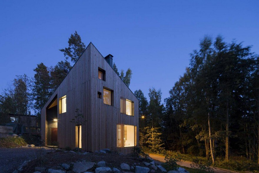 Angular House in a Forest Near Helsinki, Finland 13