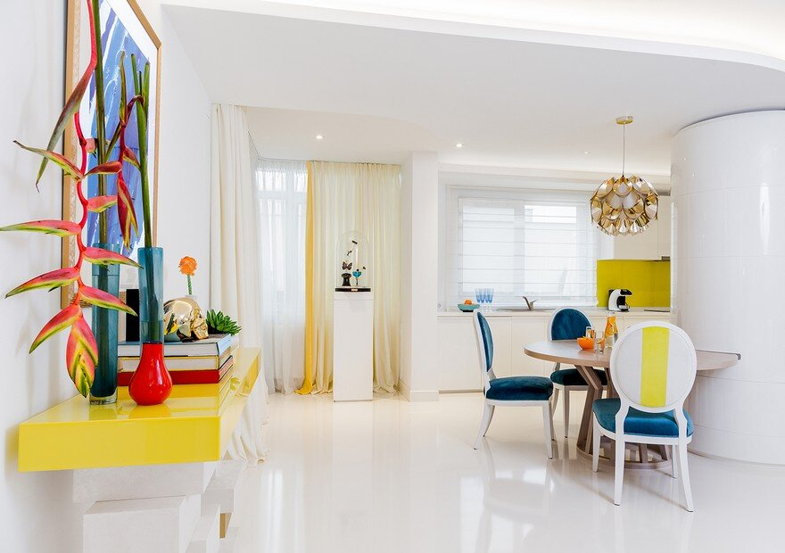 Urban Classy Home Designed by HNK in Plenty of White and Vivid Colors