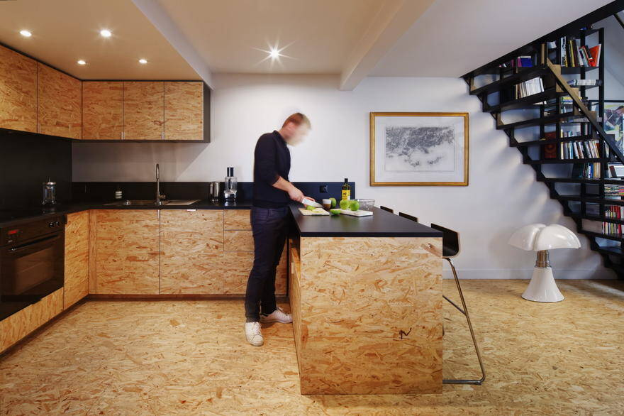 Parisian Attic Apartment Renovated with Steel and OSB Wood 2